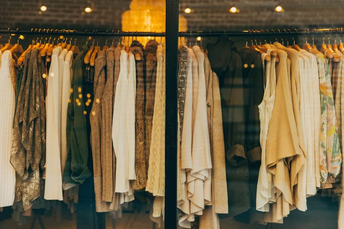 Clothes through a store window