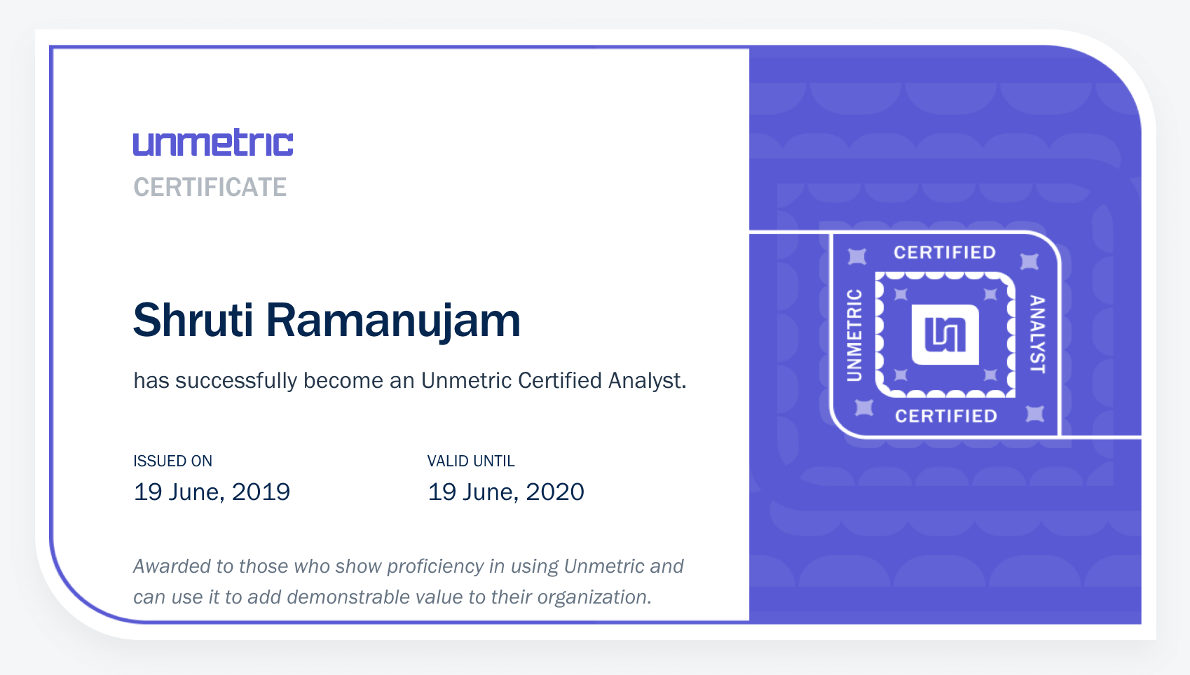 A sample certificate from the Unmetric Certified Analyst program