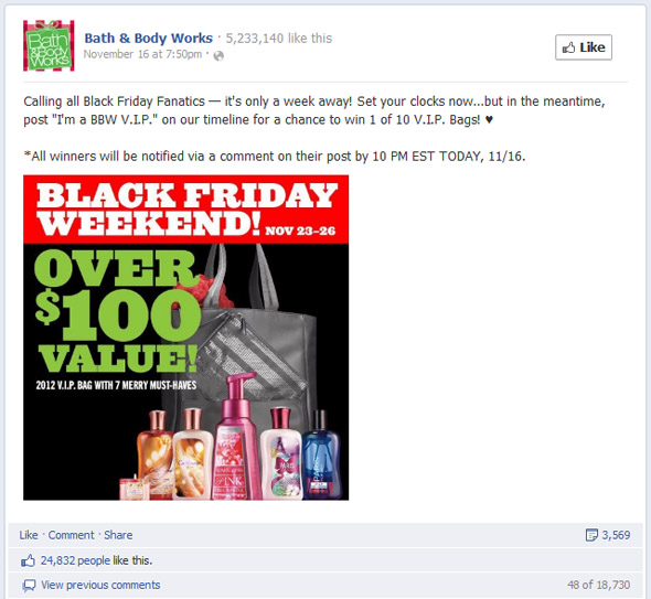 Bath & Body Works Most Engaging Black Friday Post