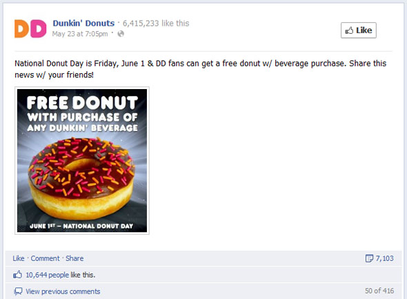 Most engaging Dunkin Donut Post