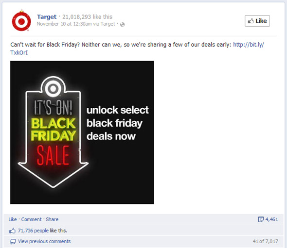 Target's Third Most Engaging Black Friday Post