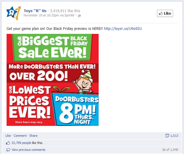 "Toys ""R"" Us Most Engaging Black Friday Post"